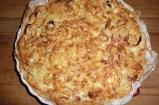 Recette de la tarte aux oignons et aux  lardons
